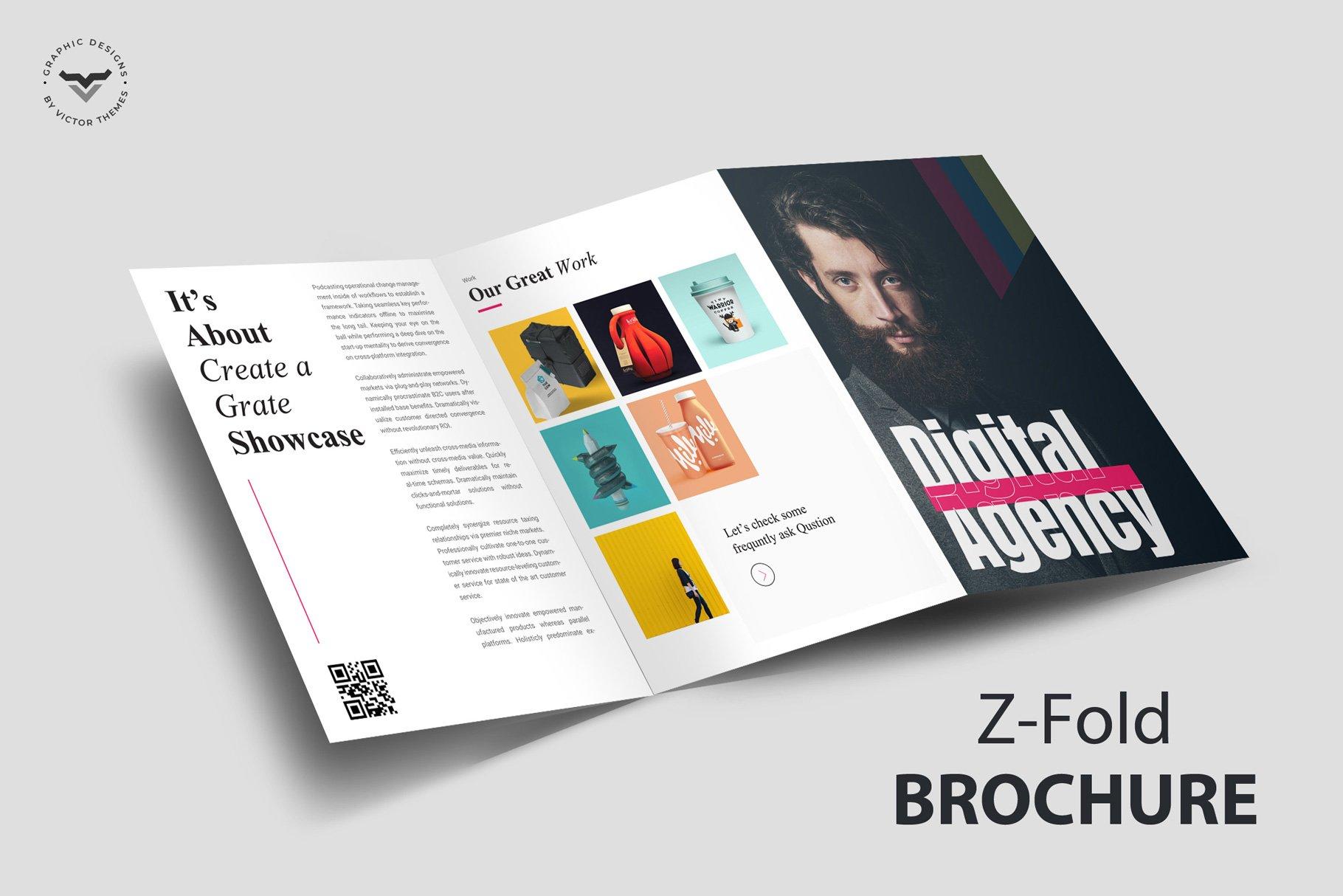Z-Fold Portfolio Brochure Template Inside Z Fold Brochure Template Indesign