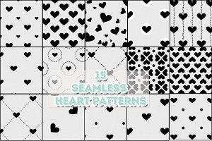 15 Seamless Heart Patterns