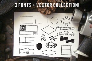 Handmade vectors + 3 Fonts!