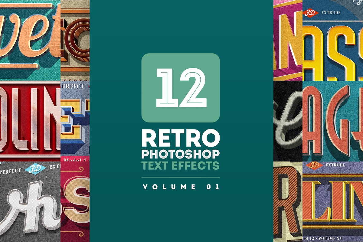c5c85218c35aa Retro Text Effects V.01 ~ Photoshop Add-Ons ~ Creative Market