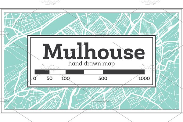 Mulhouse France City Map in Retro