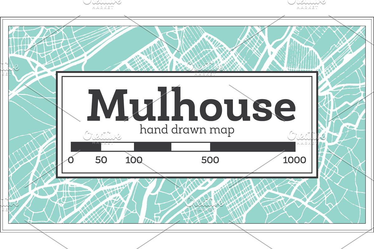 Mulhouse France City Map in Retro in Illustrations - product preview 8
