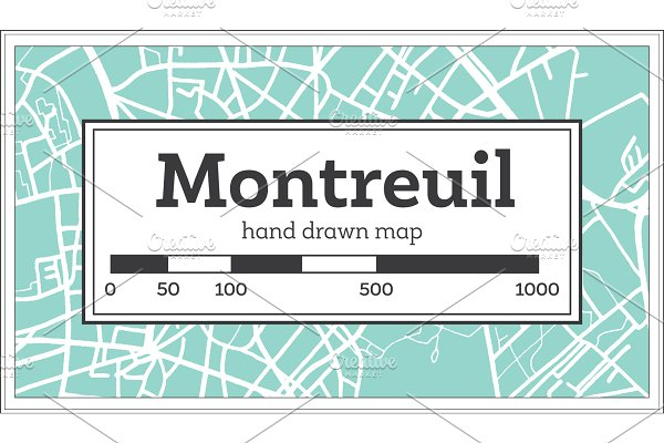 Montreuil France City Map in Retro