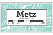 Metz France City Map in Retro Style.