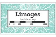 Limoges France City Map in Retro