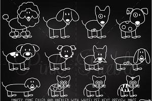 Chalkboard Stick Figure Pets Clipart