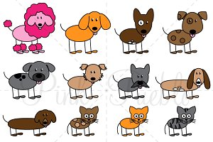 Stick Figure Pets Clipart & Vectors