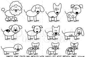 Stick Figure Pets Clipart and Vector