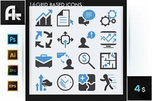Set of 16 modern business icons