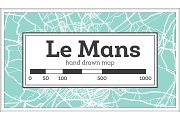 Le Mans France City Map in Retro