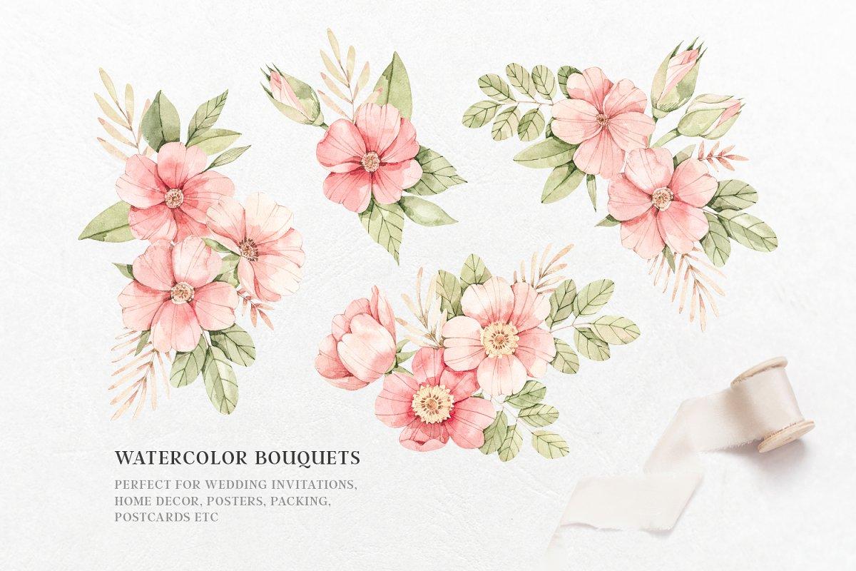 Pink Floral. Watercolour set