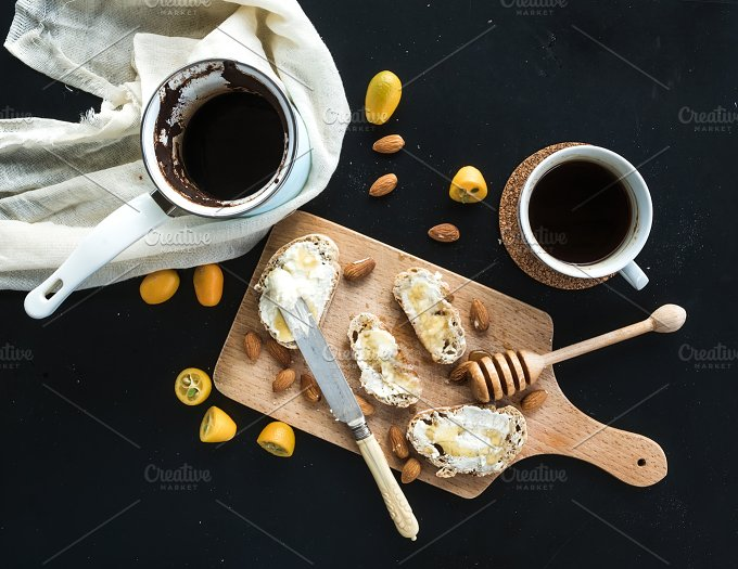 Breakfast set. Coffee and sandwiches - Food & Drink