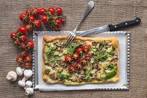 Rustic square mushroom pizza