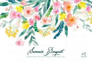 Summer Bouquet - Watercolor Clipart