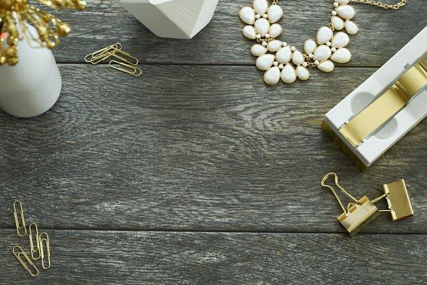Gold & white desktop | Stock Image