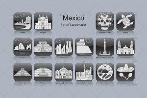 Mexico landmark icons (16x)