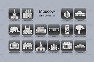 Moscow landmark icons (16x)