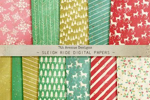 Sleigh Ride Digital Papers
