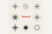 Vintage sunburst design elements
