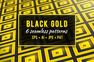 Black Gold 6 Seamless Patterns Set