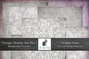Vintage Shabby Purple Gray Textures