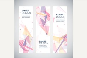 Geometric vertical banners set