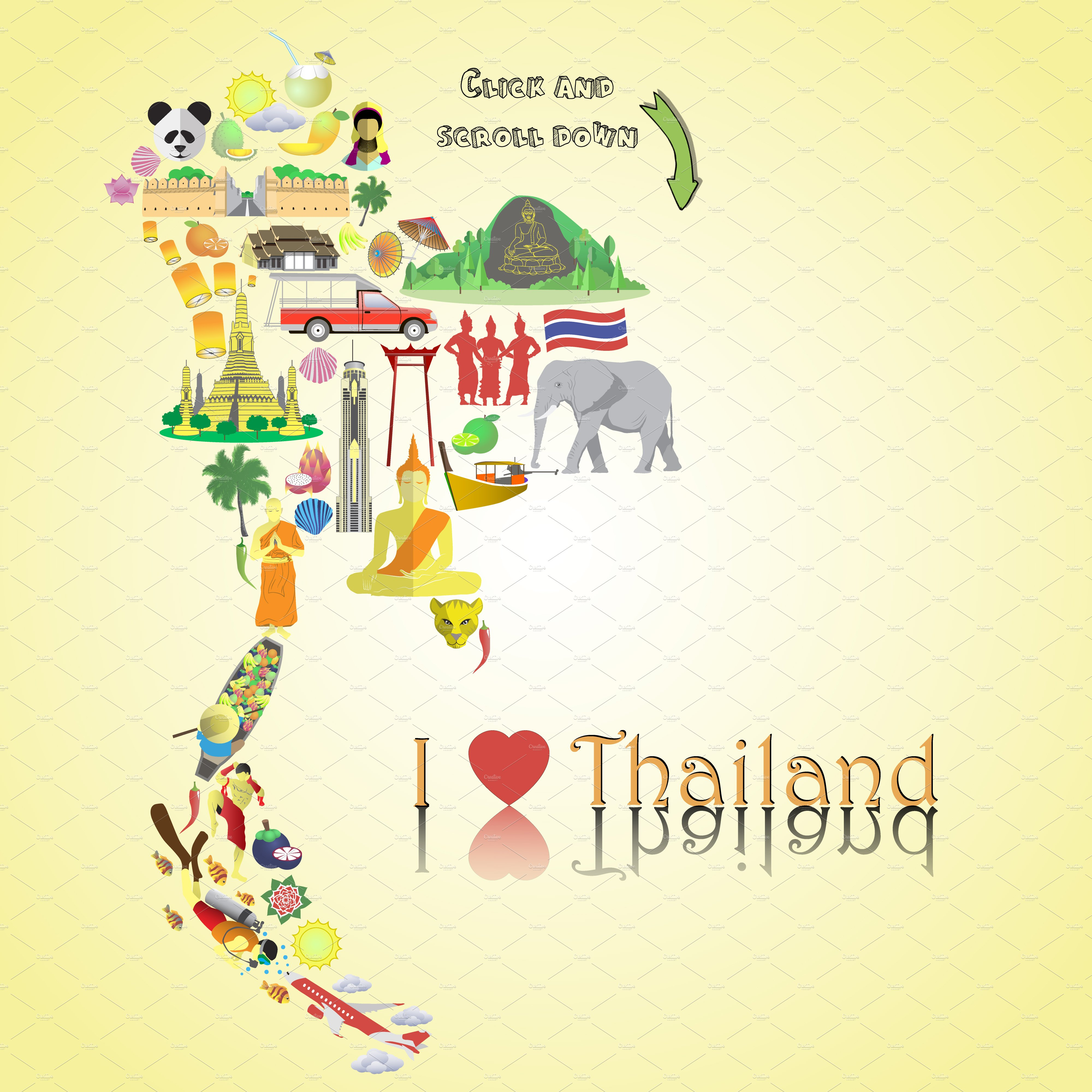 Thailand Map Thai Icons And Symbols Illustrations Creative Market