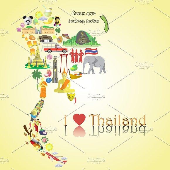 Thailand map. Thai icons and symbols - Illustrations