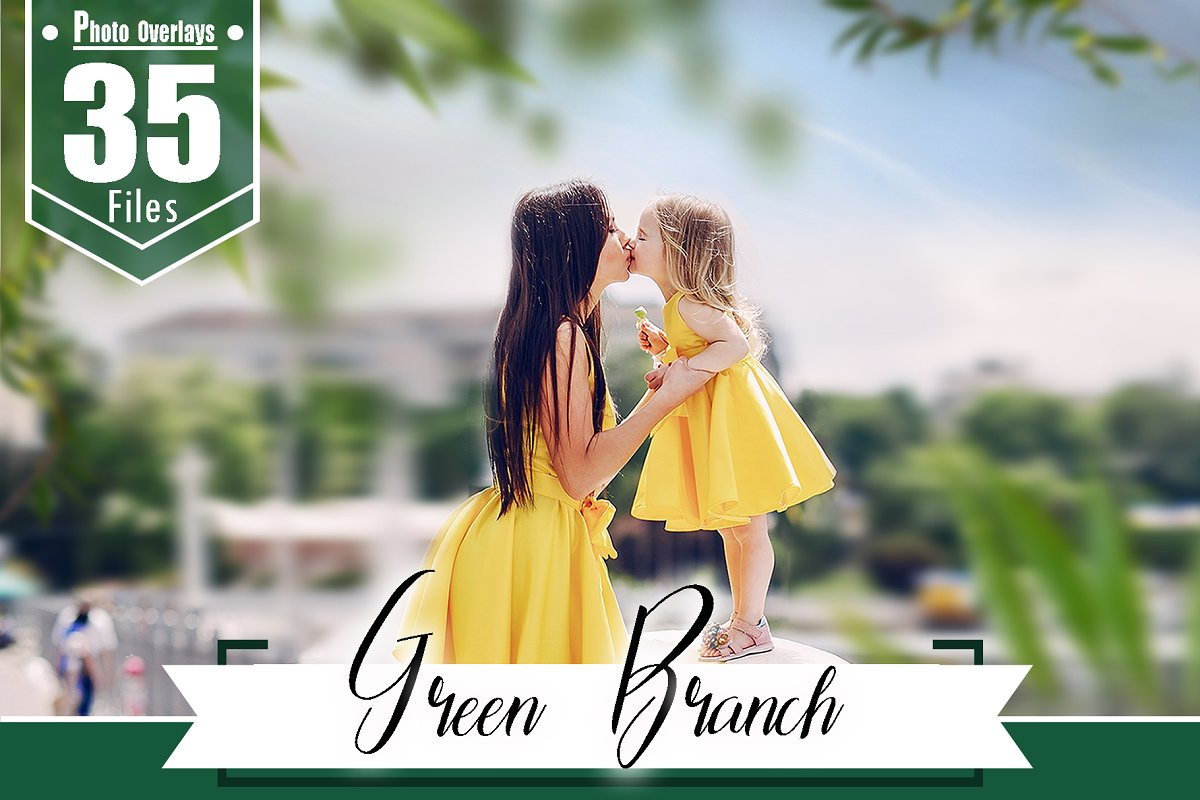35 green branch photoshop overlays