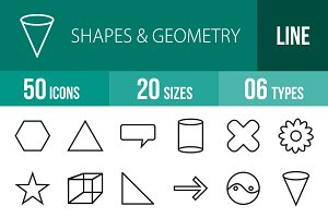 50 Shapes & Geometry Line Icons