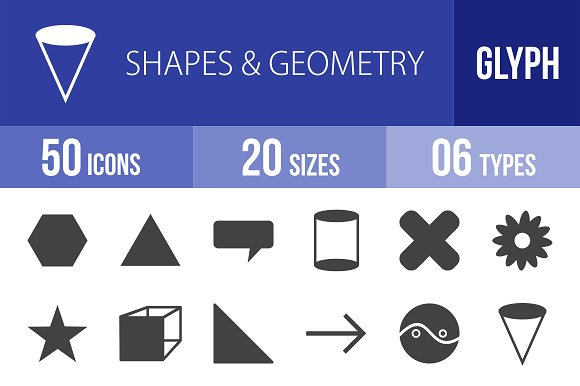 50 Shapes & Geometry Glyph Icons