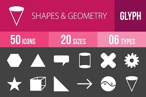 50 Shapes & Geometry Glyph Inverted