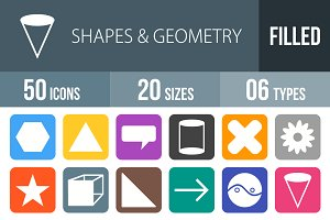 50 Shapes&Geometry Flat Round Corner