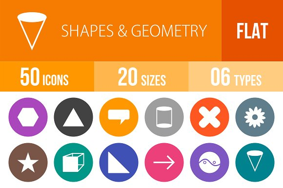 50 Shapes&Geometry Flat Round Icons