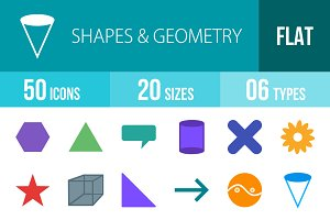 50 Shapes & Geometry Flat Multicolor
