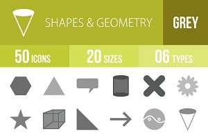 50 Shapes & Geometry Greyscale Icons