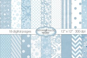 Let It Snow 18 Holiday Digital Paper
