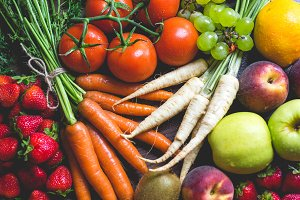 Fresh Colorful Fruits and Vegetables