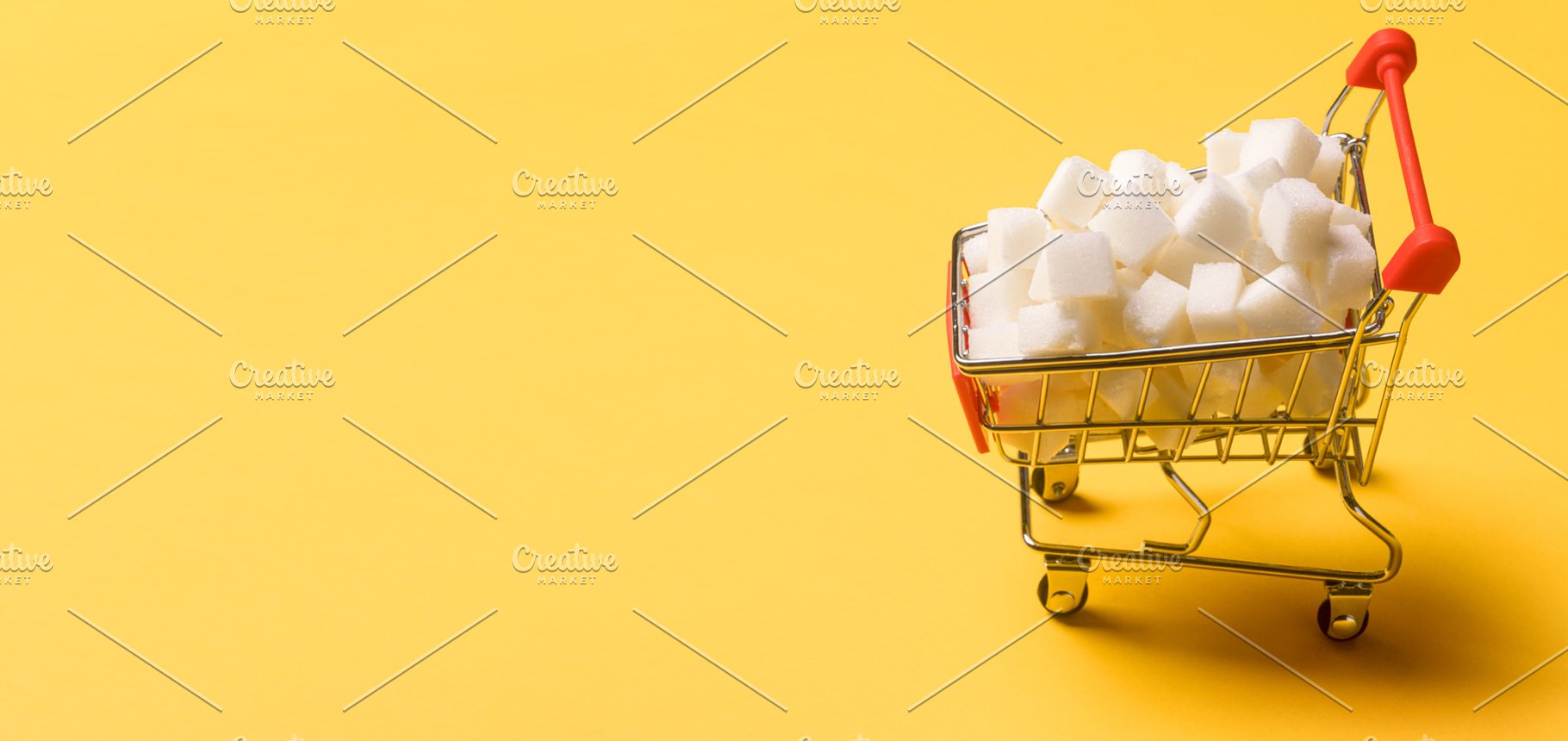 sugar cubes in the shopping cart