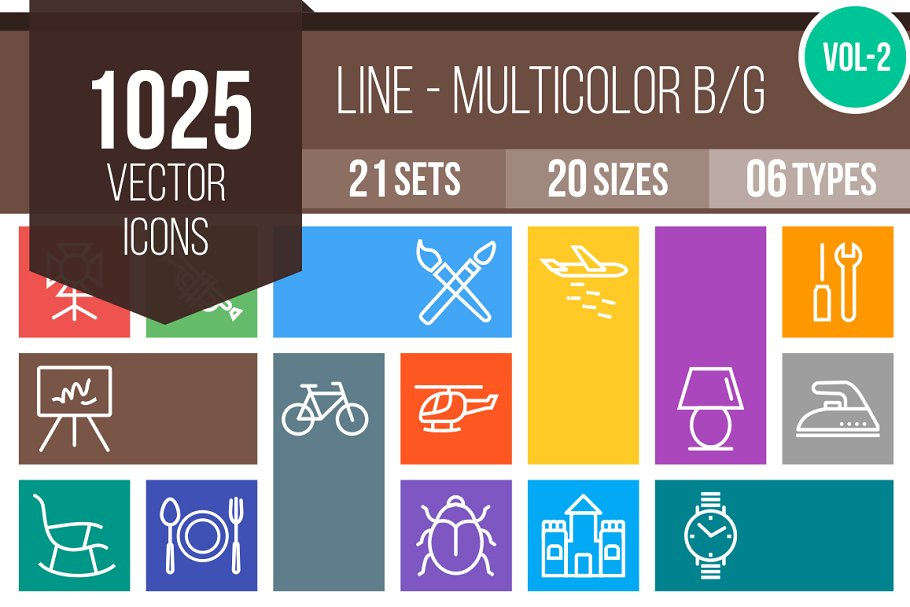1025 Line Multicolor B/G Icons (V2) in Icons - product preview 8