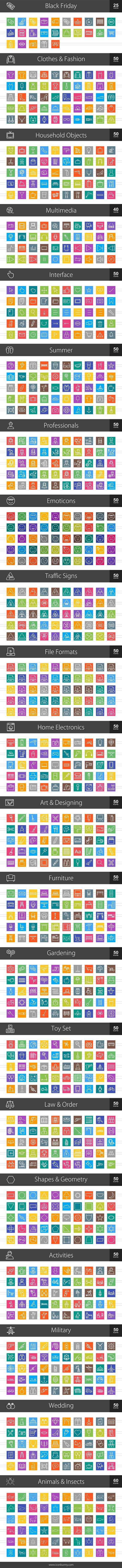 1025 Line Multicolor B/G Icons (V2) in Icons - product preview 1