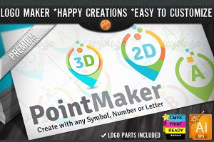 Flat 2D 3D Point Logo Maker Set