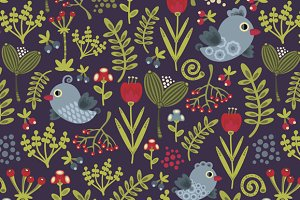 Folk bird patterns set