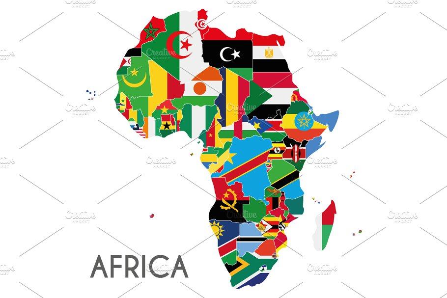 Flags Africa Map