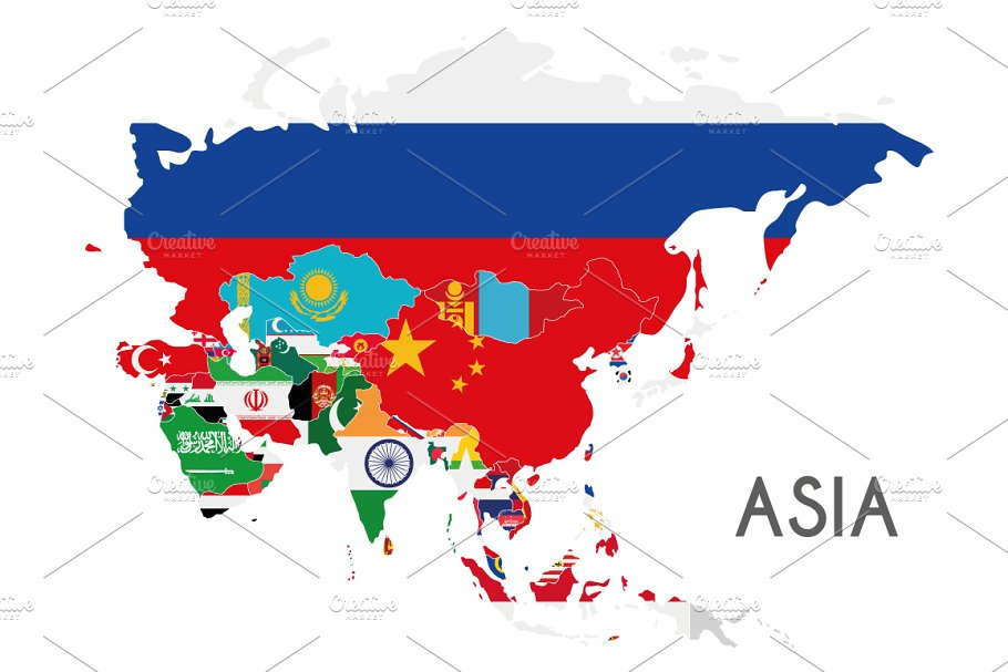 The Continent Of Asia Map.Flags Asia Map