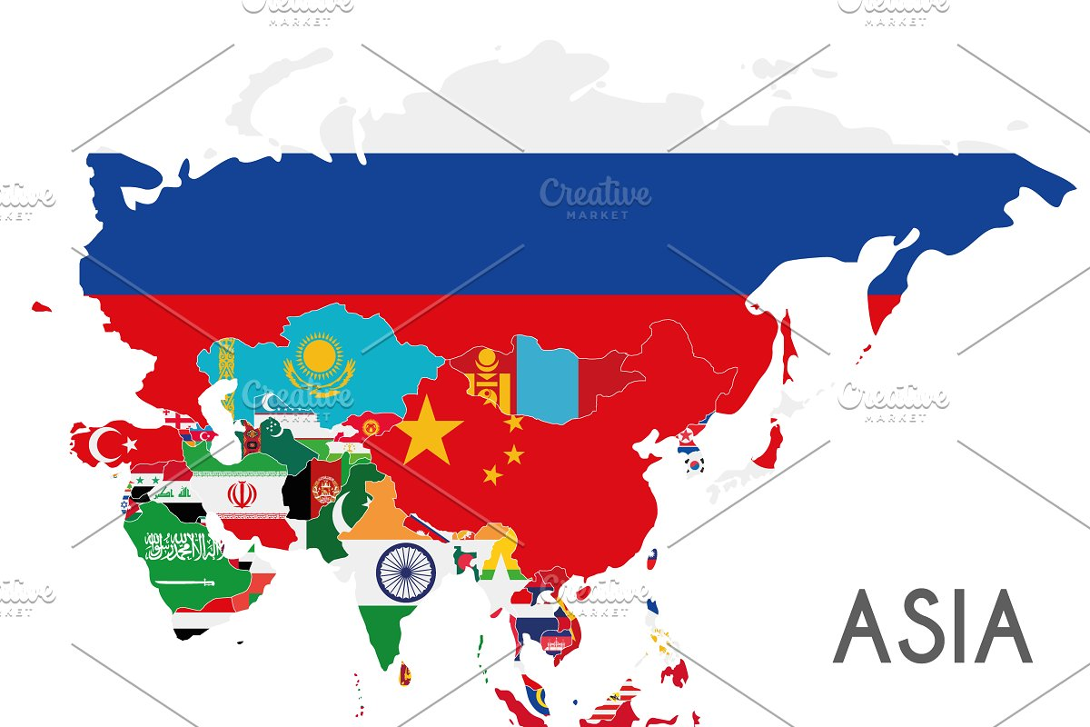 Asia On A Map Of The World.Flags Asia Map