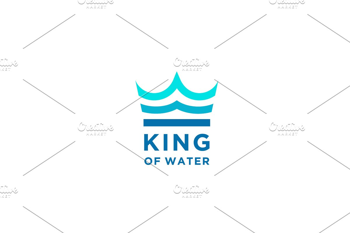 King Crown & Aqua Water Sea Logo