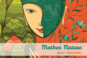 Vector illustration of Mother Nature
