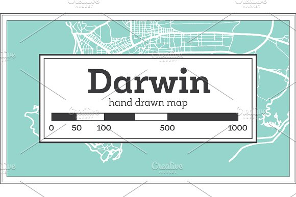 Australia Map Darwin.Darwin Australia City Map In Retro