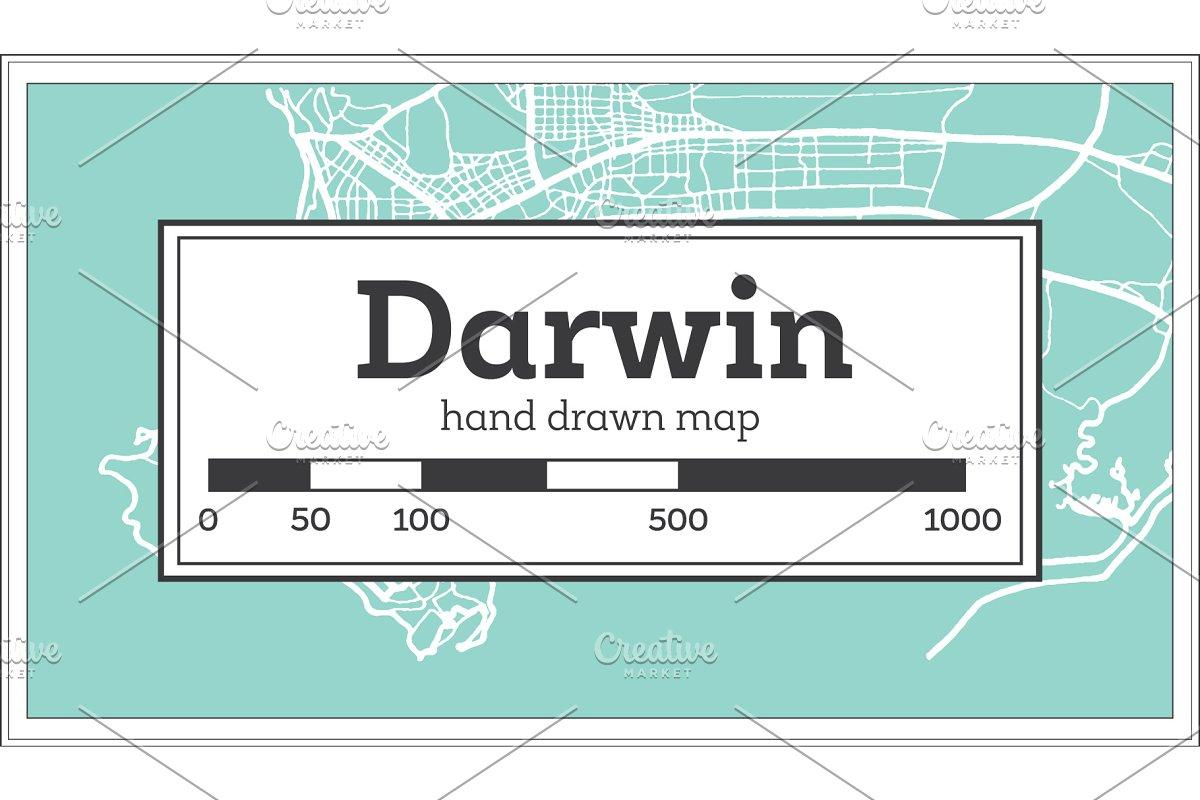 Map Darwin Australia.Darwin Australia City Map In Retro Illustrations Creative Market